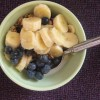 Granola with blueberries and banana