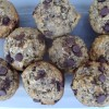 Chia seed, banana, oat, chocolate chip muffins