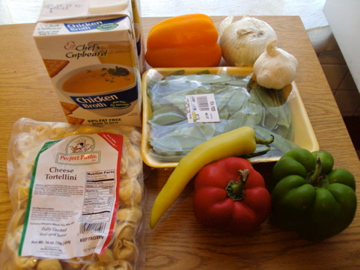 Ingredients for tortilla soup
