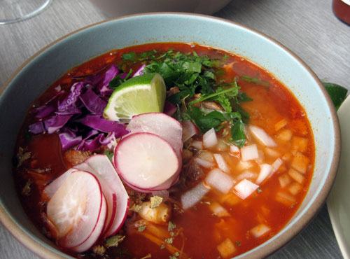 Pozole Rojo (pork and hominy stew with red chiles