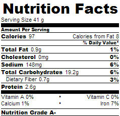 nutritional label for tortillas