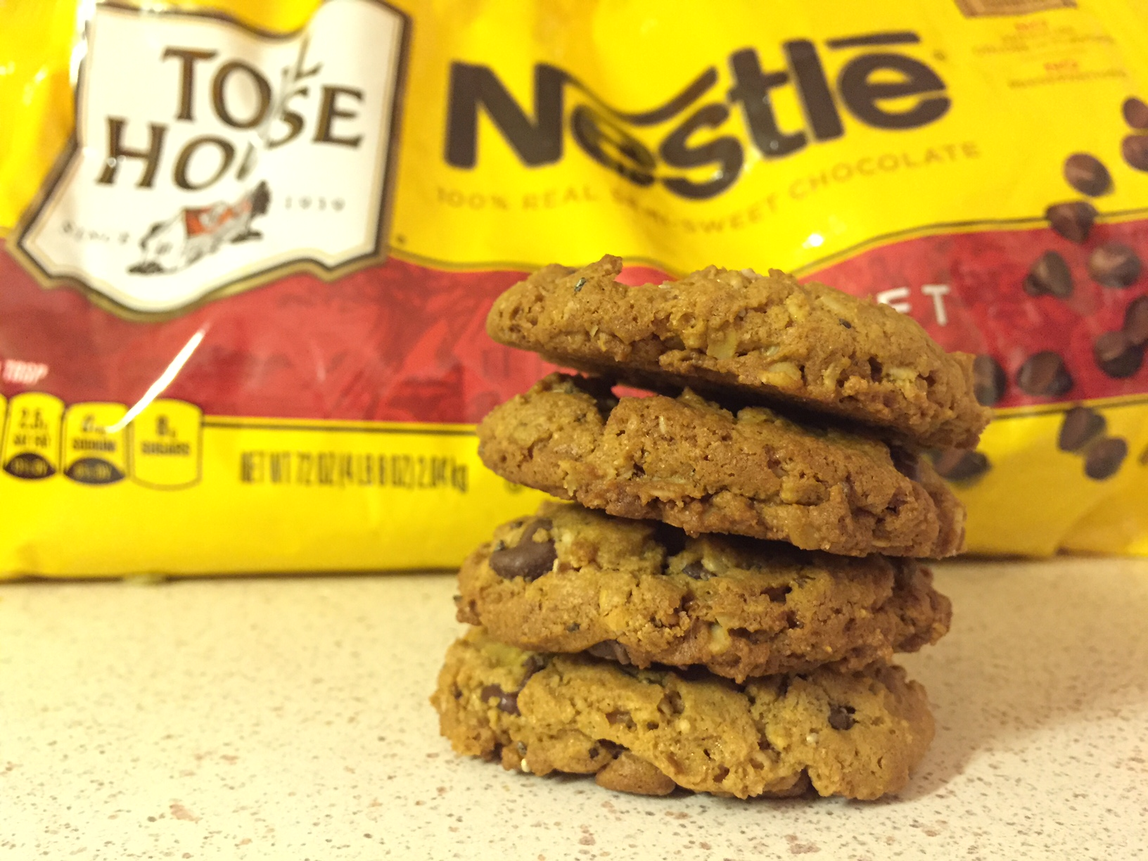 peanut butter chocolate chips cookies made with no flour or butter