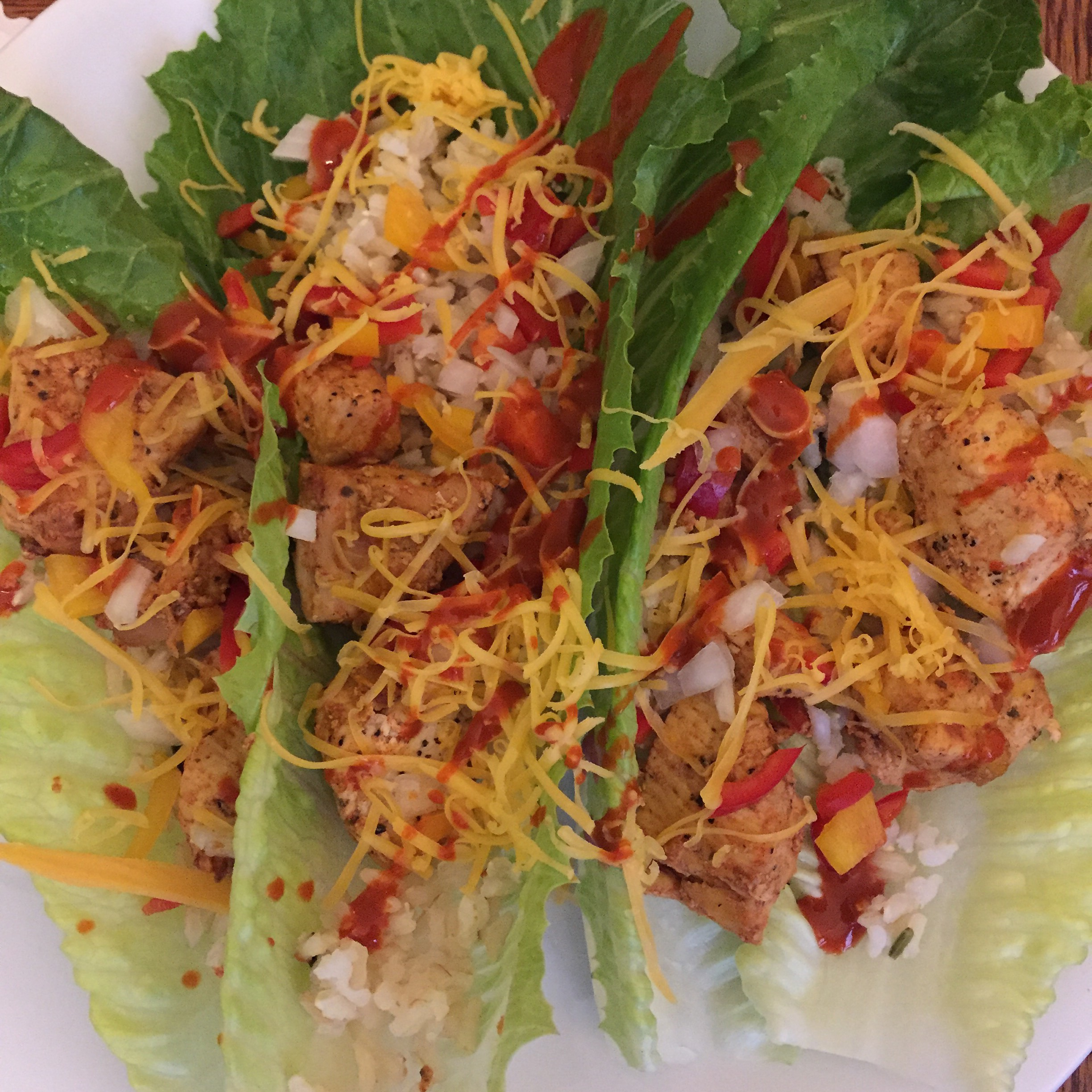 9 Smart Points for this giant plate of chicken tacos!  Easter dinner 2016