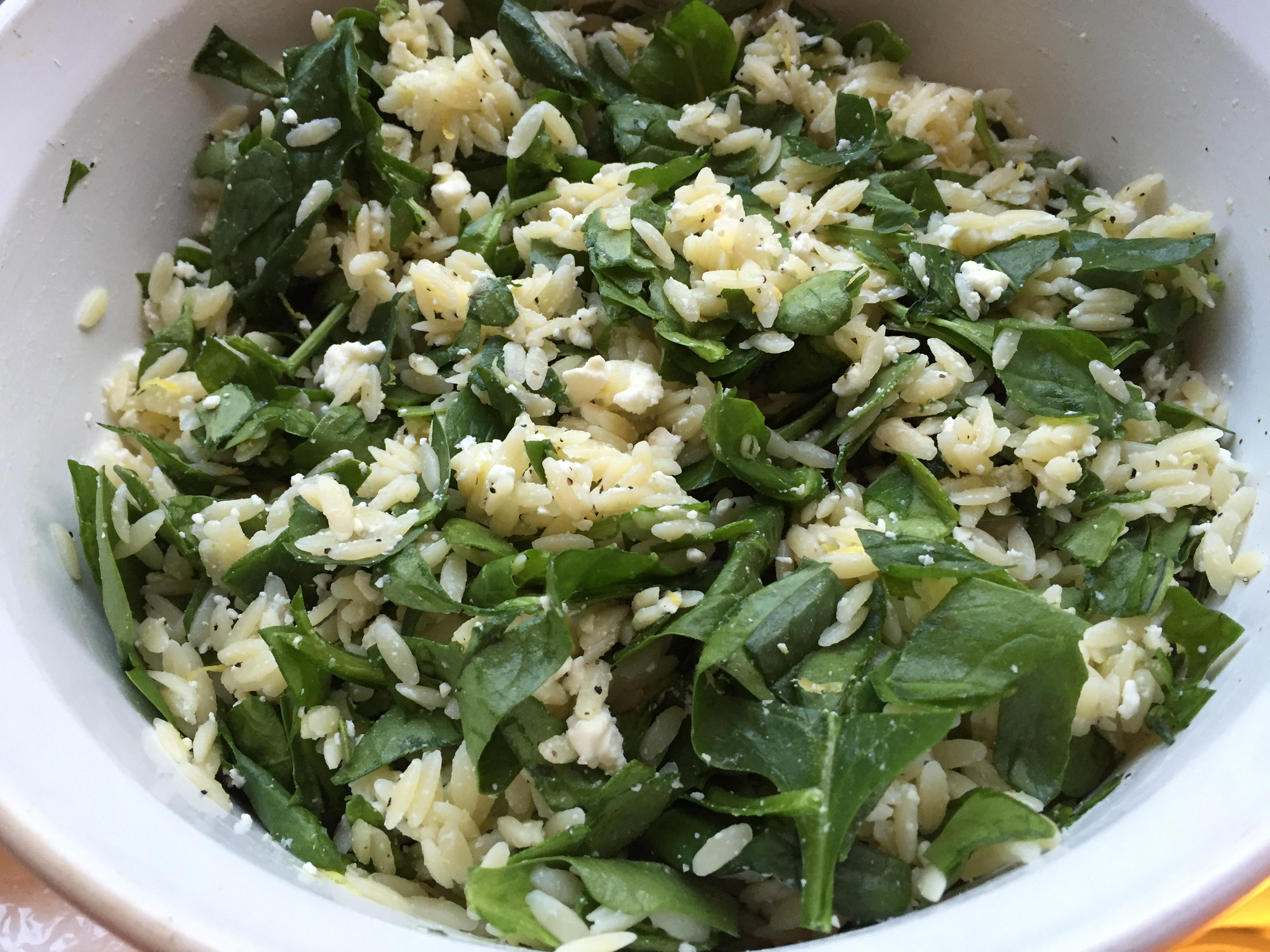 orzo spinach feta salad